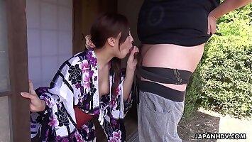 Japanese wife, Maki Horiguchi sucks dick, uncensored
