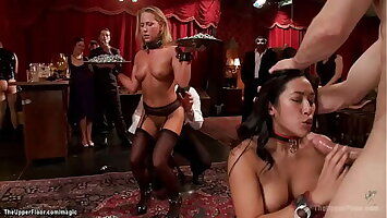 Asian and blonde fucking big cock